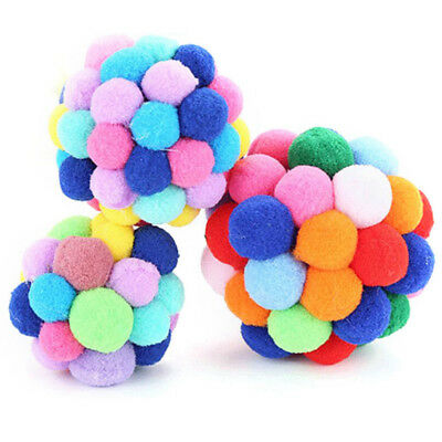 Pet Cat Toy Colorful Handmade Bells Bouncy Ball Built-In Catnip Interactive Toys