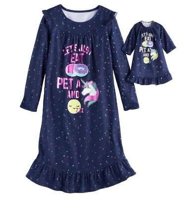 903b6eaab4 Girl 4-14 and Doll Matching Unicorn Nightgown Clothes ft American Girl  Dollie Me