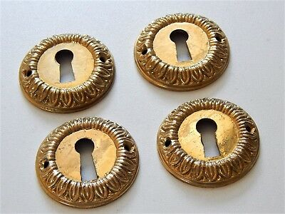 Lot of 4 Antique French Brass Key Hole Covers Escutcheon Ornate,Furniture
