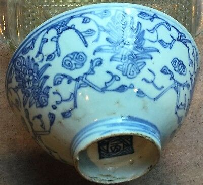 Antique Chinese Blue And White Ming Porcelain Bowl