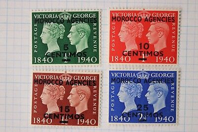 British Morocco Agencies on GB 1940 Centenary issue sc#89-92 set overprinted MLH