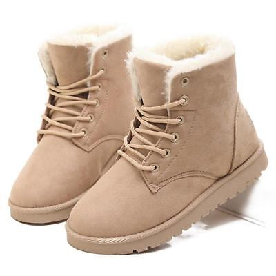 LAKESHI: Hot Women Winter Warm Snow Boots Lace Up Fur