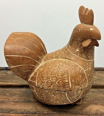 Antique Hand Carved Solid Wood Chicken Hen Secret Compartment Statue Figurine