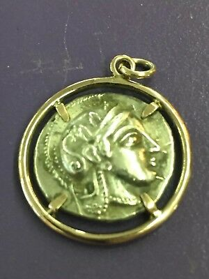 Antique Antiquity 14K Gold Roman Coin In Setting