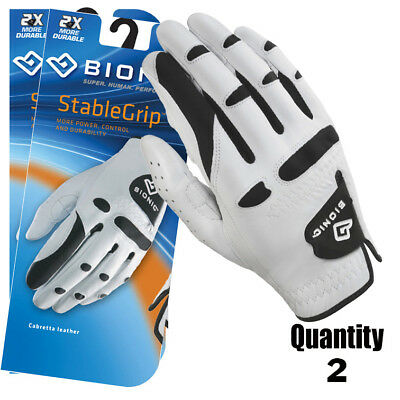 2 x Bionic Golf Gloves StableGrip - Mens Right Hand - White - Leather $28.95 ea