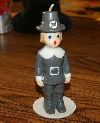 VINTAGE GURLEY PILGRIM THANKSGIVING CANDLE 5 and 3/4 inches tall