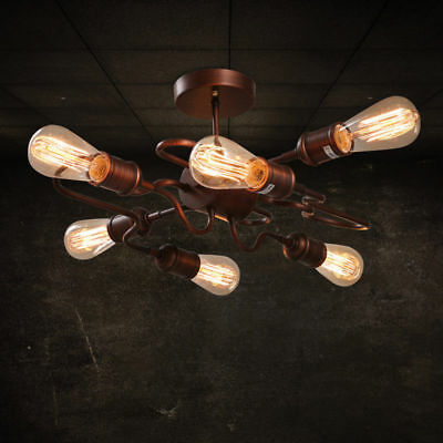 Finished Rust Bent Tube Semi Flush Mount Lamp & 6 Exposed Bulbs Ceiling Light