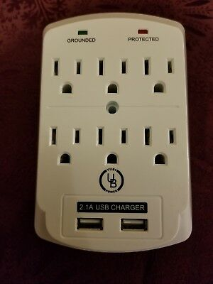 Yubi Power 6-Outlet Surge Protector - 2 USB Charging Ports & Safety Indicators