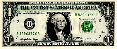 1969 $1 Federal Reserve Note ~ Offset Printing Error Back to Front ~  UNC / CU