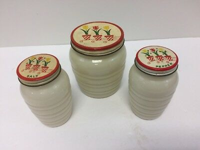 Vintage Grease Jar Matching Salt and Pepper Range Set with Tulips On Lids    W