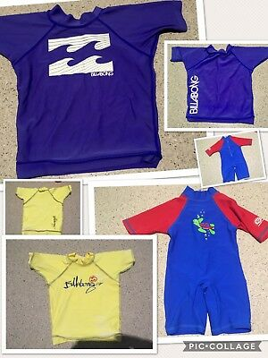 Baby Boys Size 0 Billabong And Cancer Council UPF 50 Rashie Rash Vest Swimmers