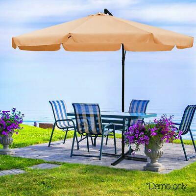 Outdoor Umbrella Waterproof Garden Patio Yard Canopy Durable Sun Shade 3M Beige