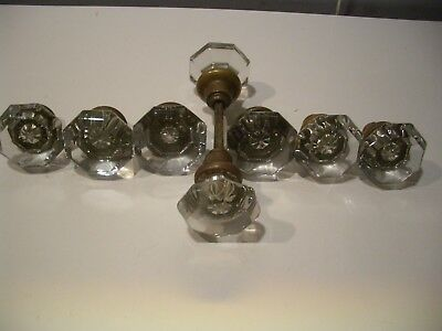 Lot of 8 Assorted Vintage Crystal Door Knobs with Brass End
