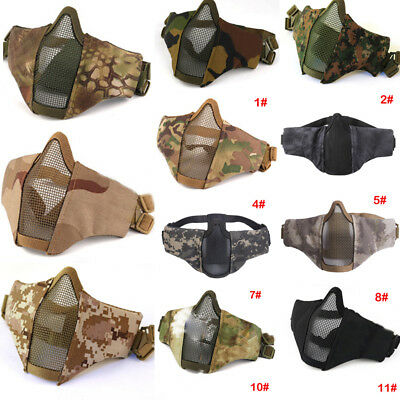 AU New Tactical Airsoft Paintball Halloween Metal Mesh Mask Half Face Protection