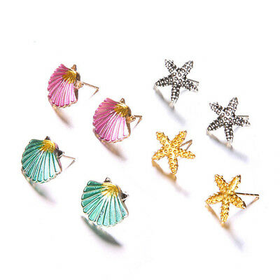 4 Pairs Assorted Boho Stud Earrings Colorful Sea Shell Starfish Beach Jewelry MA