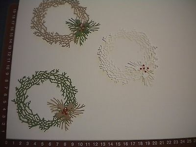Die Cuts - Christmas Wreaths, Holly, Pine Leaves, Embellishments x 3
