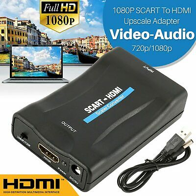 SCART to HDMI Adapter Converter with Audio Video Composite for TV DVD SkyBox Ps3