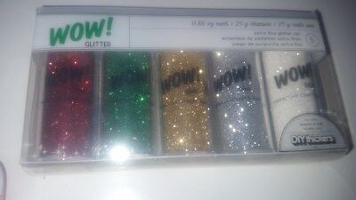 American Crafts  Wow! Extra Fine Glitter .88Oz 25g each 5 Pack