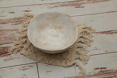 New Vintage Wood Bowl Resin Basket Newborn Preemie Photo Prop, Honey Dew Props