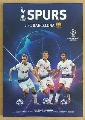 Spurs v Barcelona 3/10/2018 UEFA Champions League Official Wembley Programme