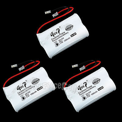 3 PCS Cordless Phone Replacement Battery GD-509 2.4V Volt NIMH 1200mAh