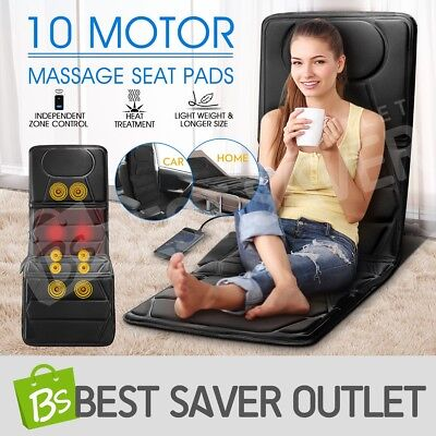 New 10 Motor Massage Seat Massaging Independent Back Pad Chair Home Office Car