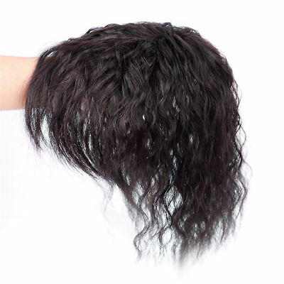 25cm Wavy Curly Virgin Human Hair Topper Clip in Hair Top Piece Bangs Extension