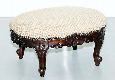 Antique Georgian Irish Style Mahogany Hand Carved Footstool Sweet Style Design