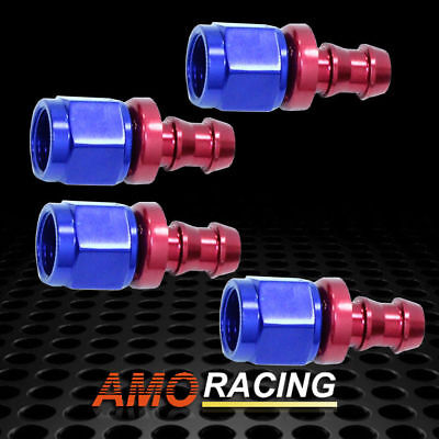 8AN AN8 Straight Push-On Hose End Fittings Push Lock Aluminum Blue & Red 4PCs