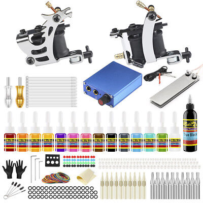 Complete Tattoo Kit needles 2 Machine Gun Power Supply 14 Color Ink Tip TK213-C