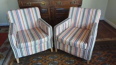 Pair of Ikea Tub chairs (KARLSTAD). Solid wooden frame and in good condition.