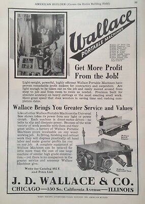 1926 Ad(G9)~Wallace Portable Saw Machines, J.d. Wallace & Co. Chicago