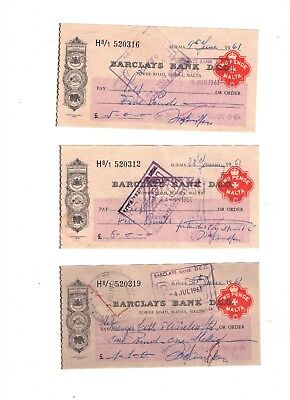4 X BILL OF EXCHANGE MALTA 2 PENCE BARCLAYS BANK CHECK REVENUE STAMP 1960s