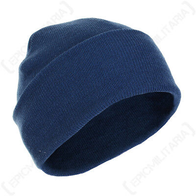 Blue Winter Wool Cap - Woolly Beanie Knitted Hat Navy Outdoor Fishing b7a37707babc