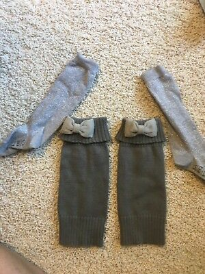Hanna Andersson Gray Size Small Girls leg-warmers & Le Big Silver Sparkle Sock