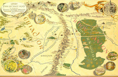 *the Hobbit* Lord Of The Rings Bilbo's Journey There And Back Again Replica Map