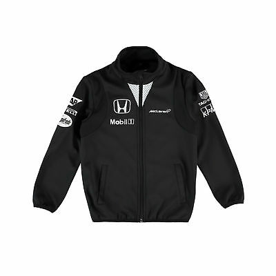 Kids New McLaren F1 Team Softshell Jacket Size M 6 - 7 yrs Black Official