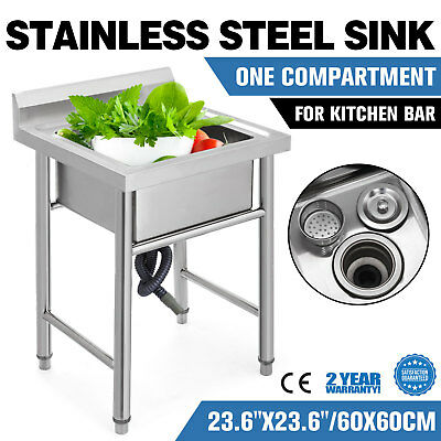 """Commercial Stainless Steel Kitchen Utility Sink with Drainboard - 23.5"""" wide"""