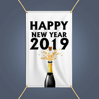 happy new year 2019 banner outdoor party decor champagne celebration vinyl sign