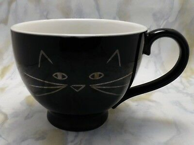 10 STRAWBERRY STREET, BLACK CAT FACE LARGE 16oz COFFEE/TEA CUP/MUG COLLECTIBLE