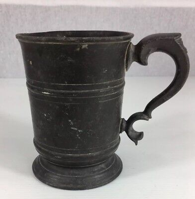 Antique Pewter Pint Measure Tankard 12.5cm In Height
