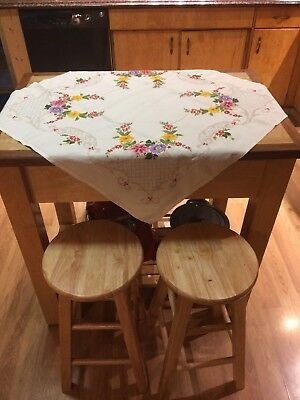 Vintage Hand Embroidered Square Table Top Cloth
