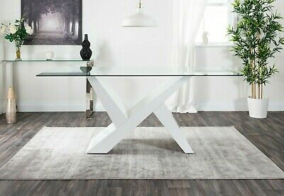 TORINO White High Gloss Clear Glass Large Dining Table 6 8 Seater 180cm x 90cm