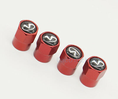 4x Red New Car Accessories Wheel Cover Tire Vavle Stem Caps for Infiniti