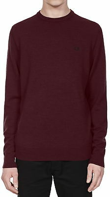 Fred Perry Classic Crew Neck Sweater In Mahogany Marl