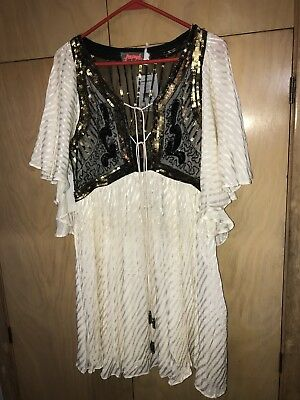 37cd2ead61d9 Free People Moonglow Sequin-Embellished Mini Dress SMALL ivory MSRP$300 NWTS