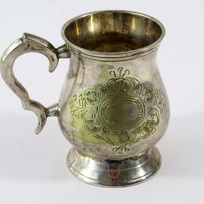 Vintage Silver Plated E.P.N.S Mug/Tankard with Etched Floral Design -275g -10cm