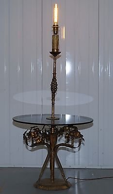 Stunning Gold Leaf Floral Painted Smoked Glass Side Table With Built In Lamp