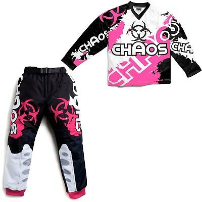 Kids Off Road Motocross Shirt Trousers Clothing Chaos MX Set Bike Pink ATV