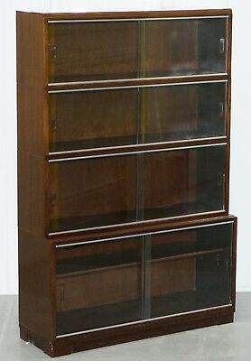 1950's Mahogany Modular Minty Oxford Vintage Stacking Legal Bookcase Glass Doors